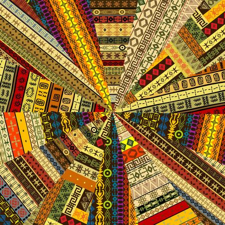 Sunburst made of patchwork fabric witf ethnic motifs 向量圖像