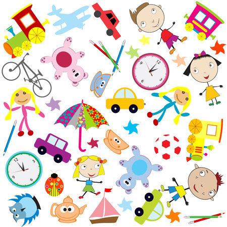 Background for kids with different kind of toys Vector