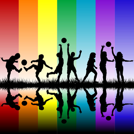 Children silhouettes playing on rainbow background Vector
