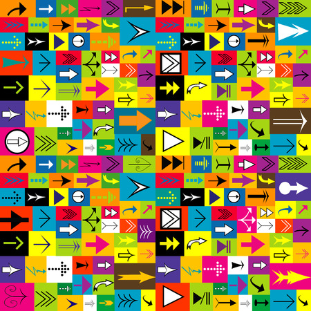 Colorful background with different kinds of arrows Vector
