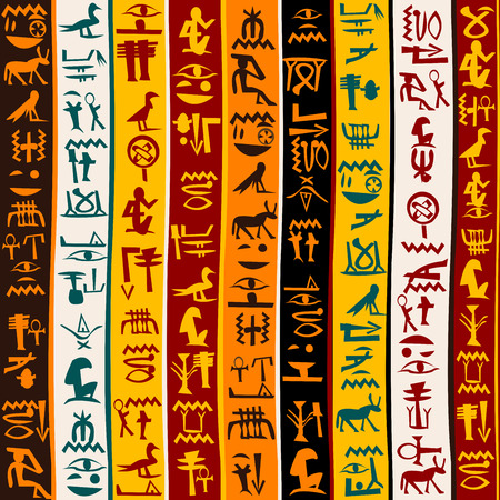 Colorful background with Egyptian hieroglyphs  イラスト・ベクター素材