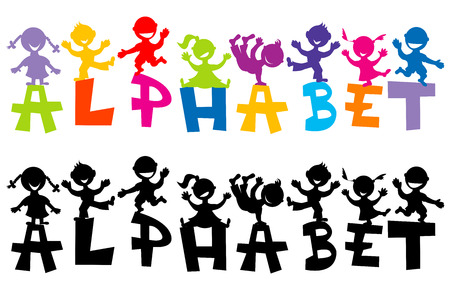 Doodle children with alphabet letters Vector