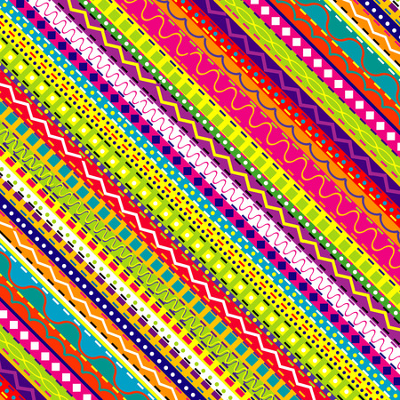 Doodle ethnic and colored seamless background Vector