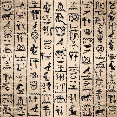 Egyptian hieroglyphics grunge background Vector