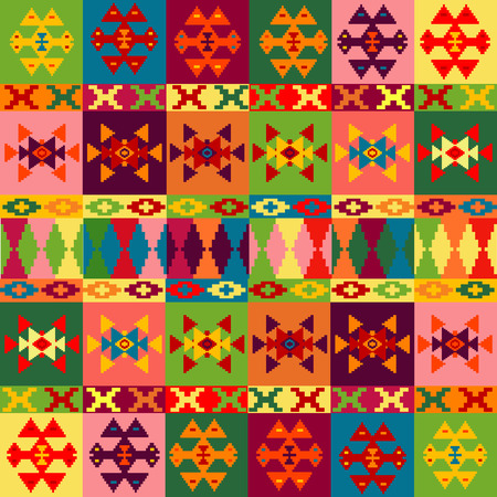 Ethnic motifs background, carpet with folk ornaments in different colors Vector