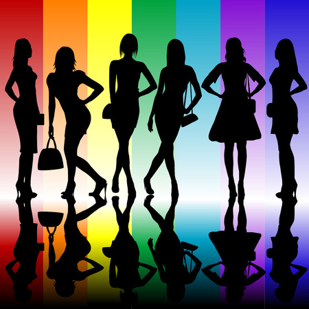 sexy woman silhouette: Fashion background with young ladies silhouettes