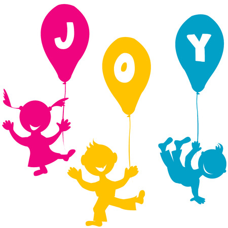 Hand made children with balloons Vector