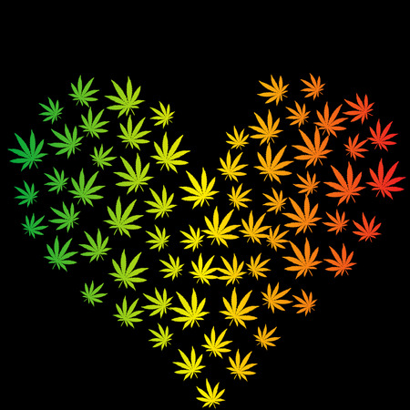 cannabis leaf: Heart made of marijuana leaves