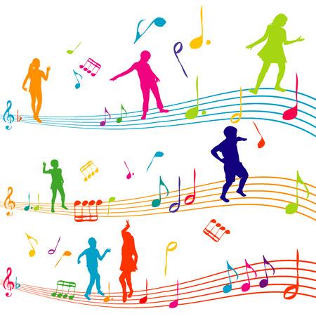 Nota di musica con i bambini sagome di danza Archivio Fotografico - 26788141