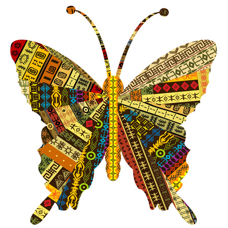 Patchwork fabric with butterfly Vector