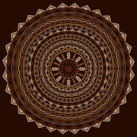 Round ethnic ornament in cappuccino tones Vector