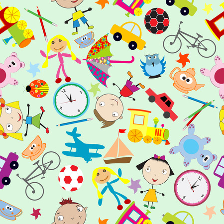 Seamless pattern for kids with toys Vector