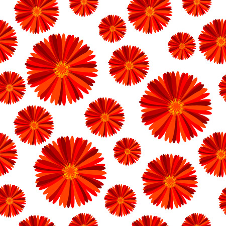 doted: Seamless pattern with red flowers against white background Illustration