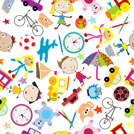 Seamless pattern with toys, background for kids Vector