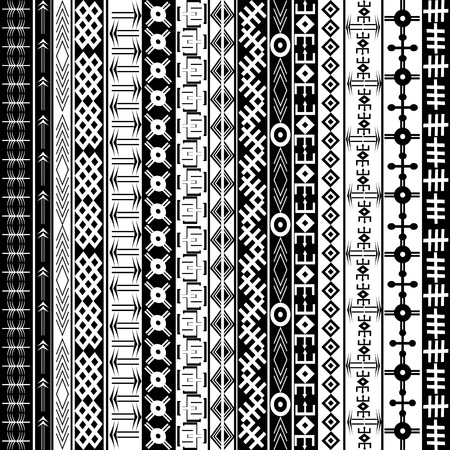 Texture with ethnic geometrical ornaments, black and white African motifs background Illustration