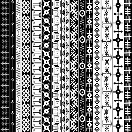 Textur mit ethnischen geometrischen Ornamenten, schwarz und weiß afrikanische Motive Hintergrund