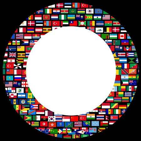 Cadre des drapeaux du monde de cercle sur fond noir Banque d'images - 27727416