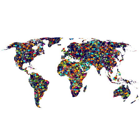 Colored network World map photo