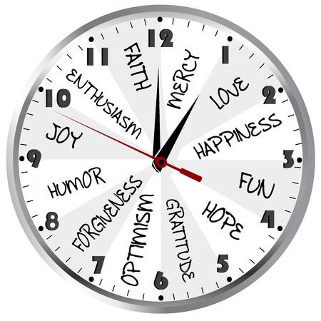 긍정적 인 감정을 가진 시계