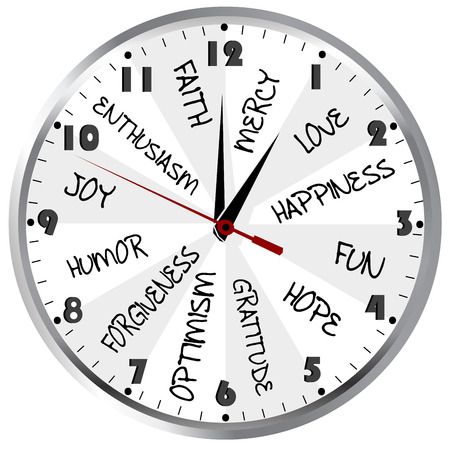 Clock with positive feelings Иллюстрация