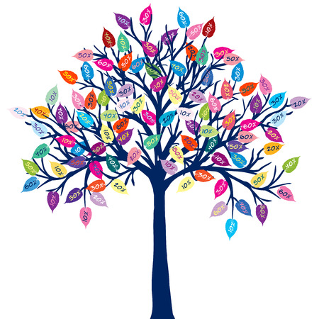 arbor: Colored tree with discount leaves Illustration