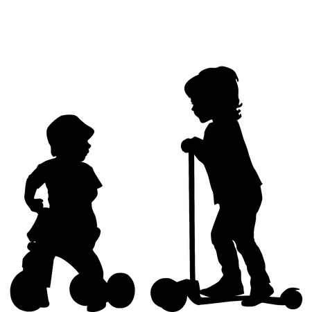 Kids with scooter and tricycle Vector