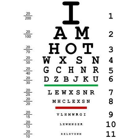 eye exam: Words I am hot with optical eye test use by doctors