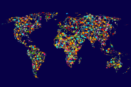 network cable: World map made of abstract colorful dots network