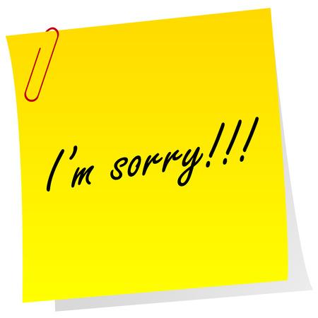 Nota amarilla con el mensaje de que soy lo siento Foto de archivo - 28346835