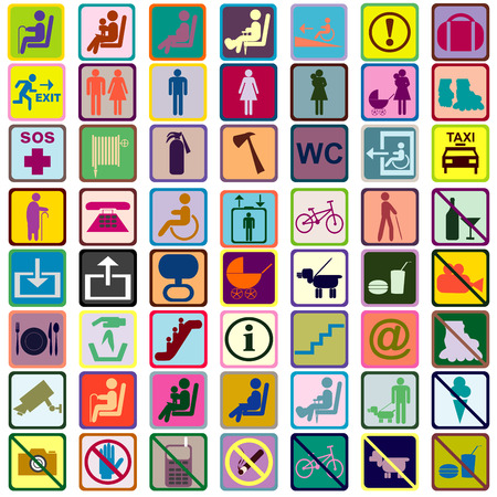 baby toilet seat: Colored signs icons used in transportation means Stock Photo