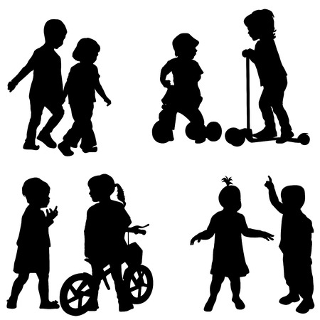 tricycle: Couples of children silhouette