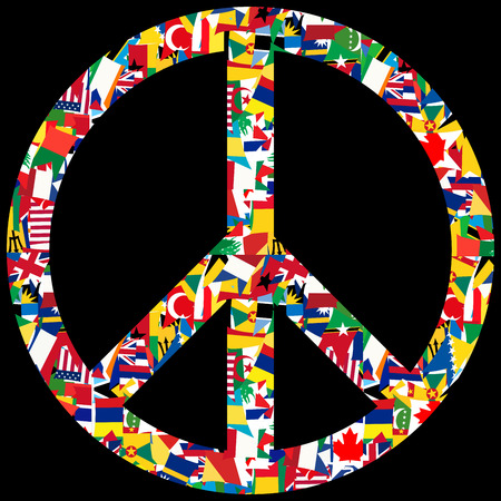 world flags: Peace symbol with world flags