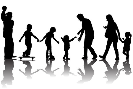 skate park: Silhouettes of parents with kids in the park Stock Photo