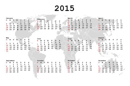 julie: 2015 Calendar for agenda with world map