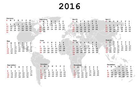 2016 Calendar for agenda with world map photo