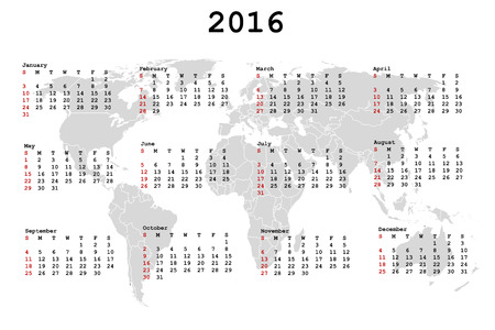 julie: 2016 Calendar for agenda with world map