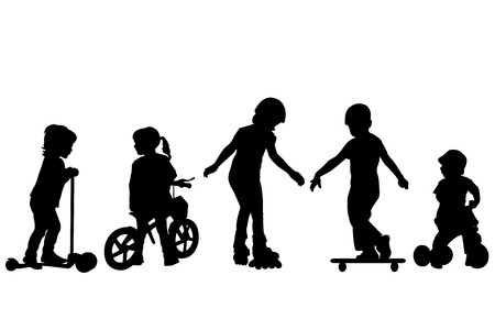 niños bailando: Siluetas de niños activos