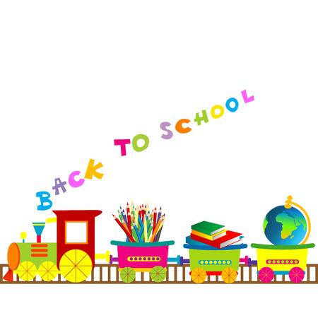 zug cartoon: Back to school-Illustration mit Comic-Bahn Illustration