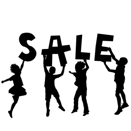 Children holding a sale message Vector