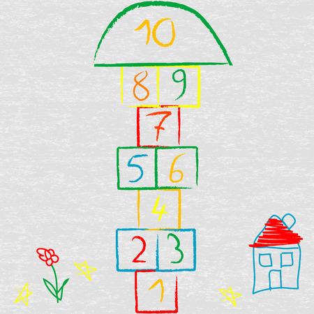 Doodle illustration with hopscotch Illustration