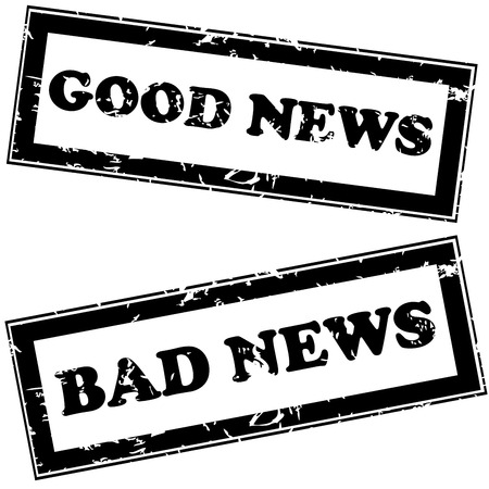 good news: Rubber stamps with good news and bad news