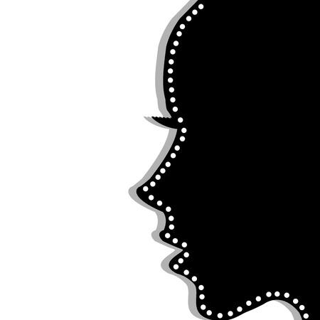 woman profile: Stylized woman profile over white background