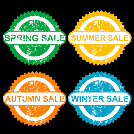 sumer: Rubber stamps with texr spring sale, sumer sale, autumn sale and winter sale