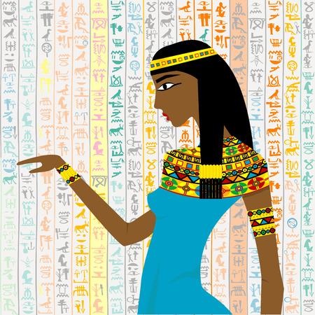 Ancienne femme égyptienne sur un fond de hieroglyps égyptiens Banque d'images - 31869028