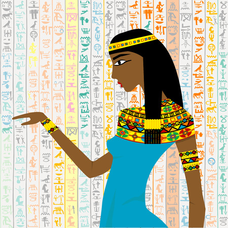 Ancient Egyptian woman over a background with Egyptian hieroglyps
