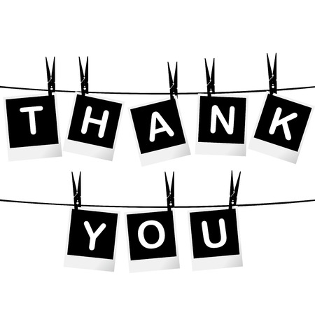 clothes peg: Black and white thank you card