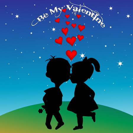 nose cartoon: Boy and girl silhouettes kissing Illustration