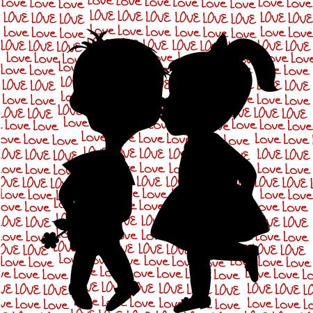 belles jambes: Carte avec des silhouettes de bande dessinée d'un jeune garçon et une jeune fille de baisers Illustration