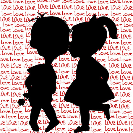 Card with cartoon silhouettes of a boy and a girl kissing Illustration