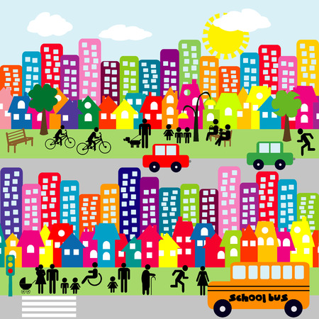 mini bus: Cartoon city with people pictograms